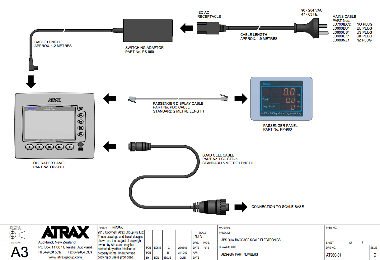 Atrax ABS960+ Baggage Scale Electronics Diagram | ABS960+ Spares | Atrax Group