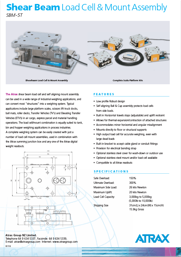 Atrax Shear Beam Load Cell & Mount 5T Brochure (1110) PDF   Thumbnail