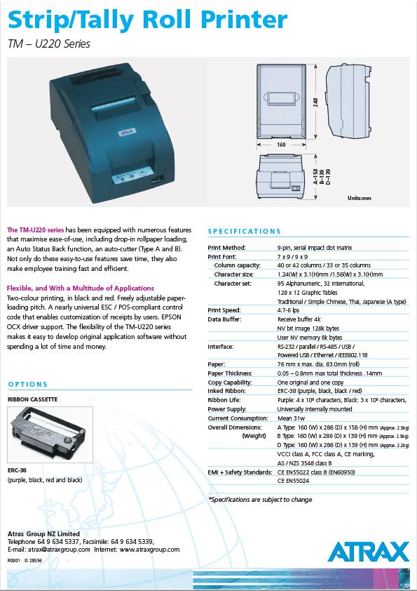 Atrax TM U220 Printer PDF | Thumbnail
