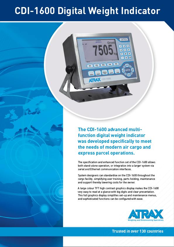 Atrax CDI-1600 Digital Weight Indicator Brochure