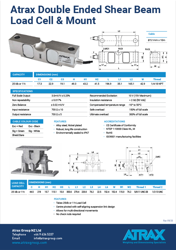 Atrax Doubled Ended Shear Beam Load Cell & Mount Data Sheet