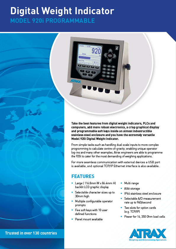 Atrax Model 920i Digital Weight Indicator Brochure