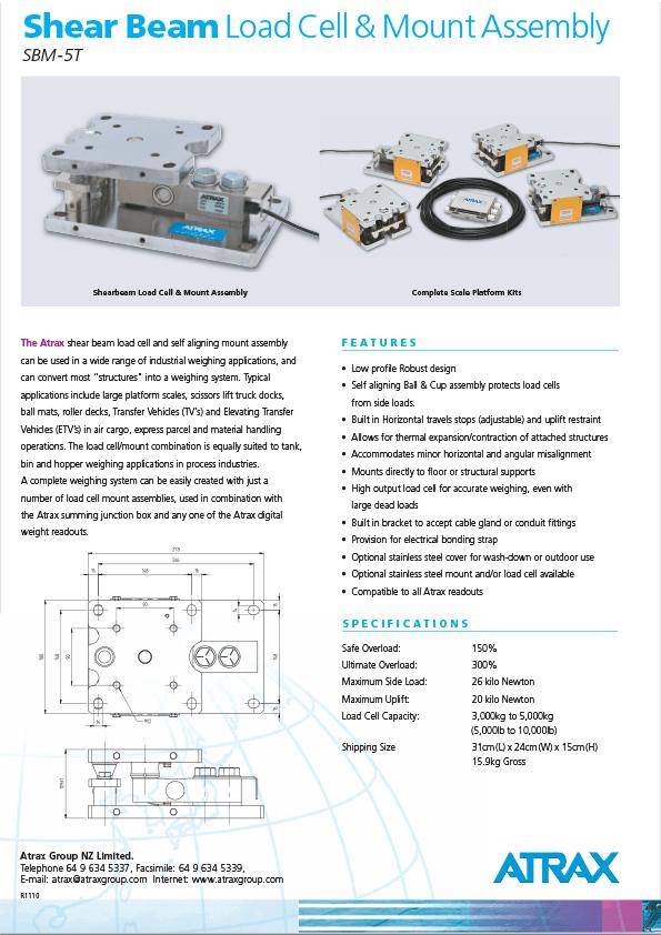 Atrax Shear Beam Load Cell & Mount Assembly (SMB-5T) Brochure