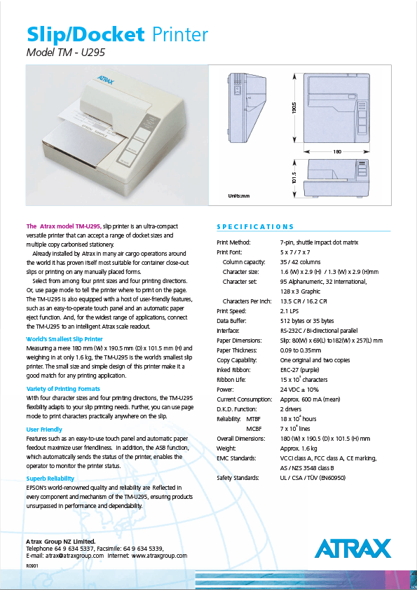 Atrax Model TM-U295 Slip/Docket Printer Data Sheet