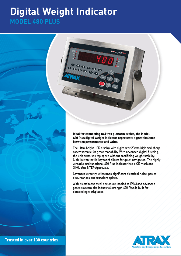 Atrax Model 480 Plus Digital Weight Indicator Brochure