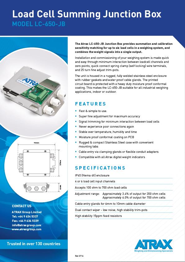 Atrax Load Cell Summing Junction Box (Model LC-650-JB) Brochure
