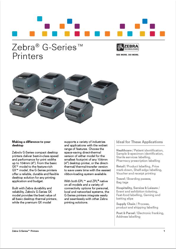 Zebra Model GK420 (G-Series) Label Printer Data Sheet