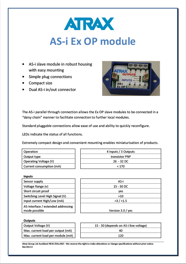 Atrax AS-i Ex OP Module Data Sheet thumbnail