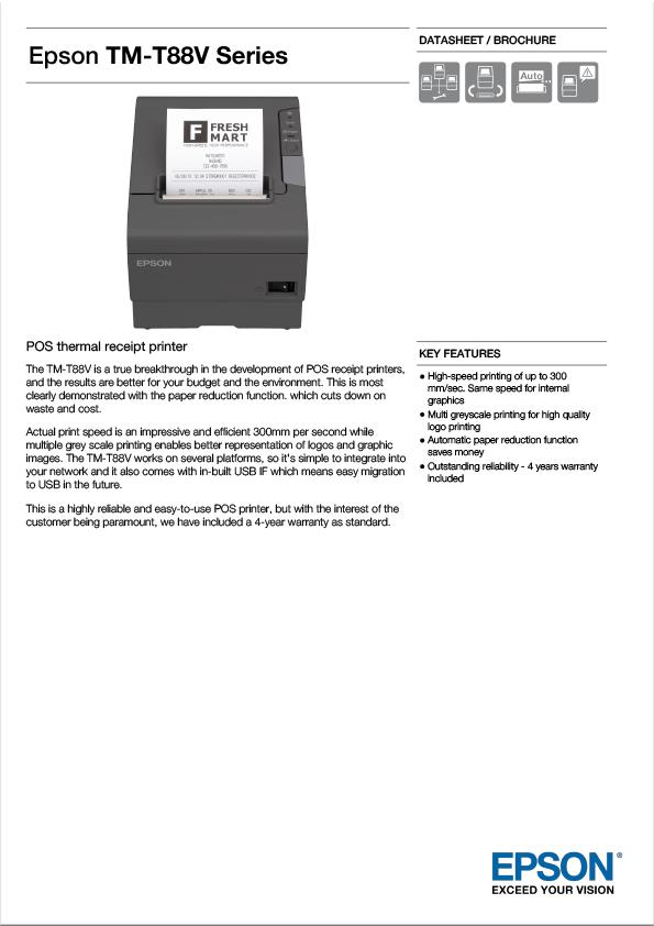Epson TM-T88V Thermal Tally Roll Printer Data Sheet