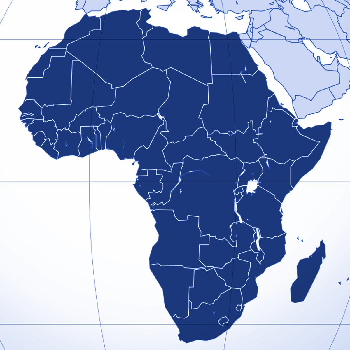 Africa region | Blue | Atrax Group | Atrax reference locations - Africa