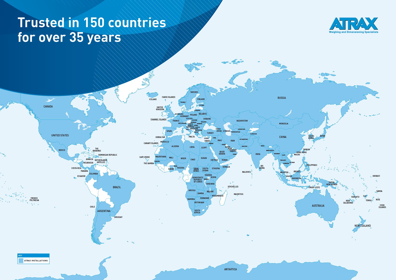 Atrax around the world | Map | 150 Countries. Rev 0821