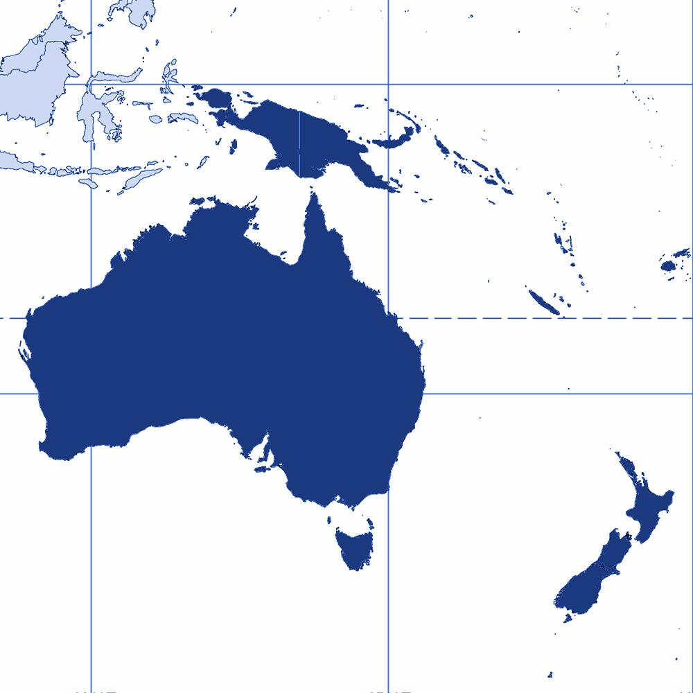 Australasia region | Blue | Atrax Group | Atrax reference locations - Australasia