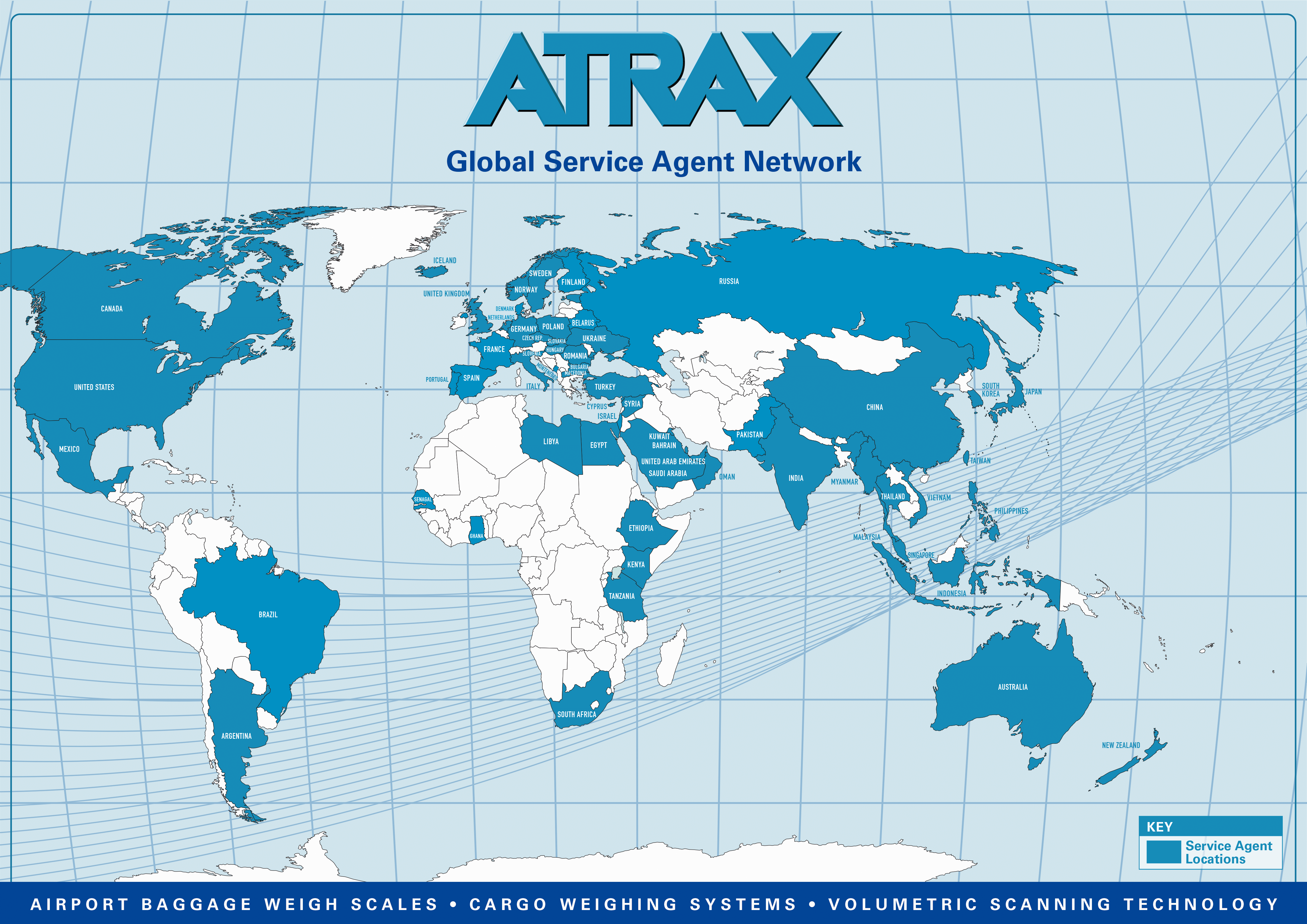 Atrax Global Service Agent Network Map Image   May 2016