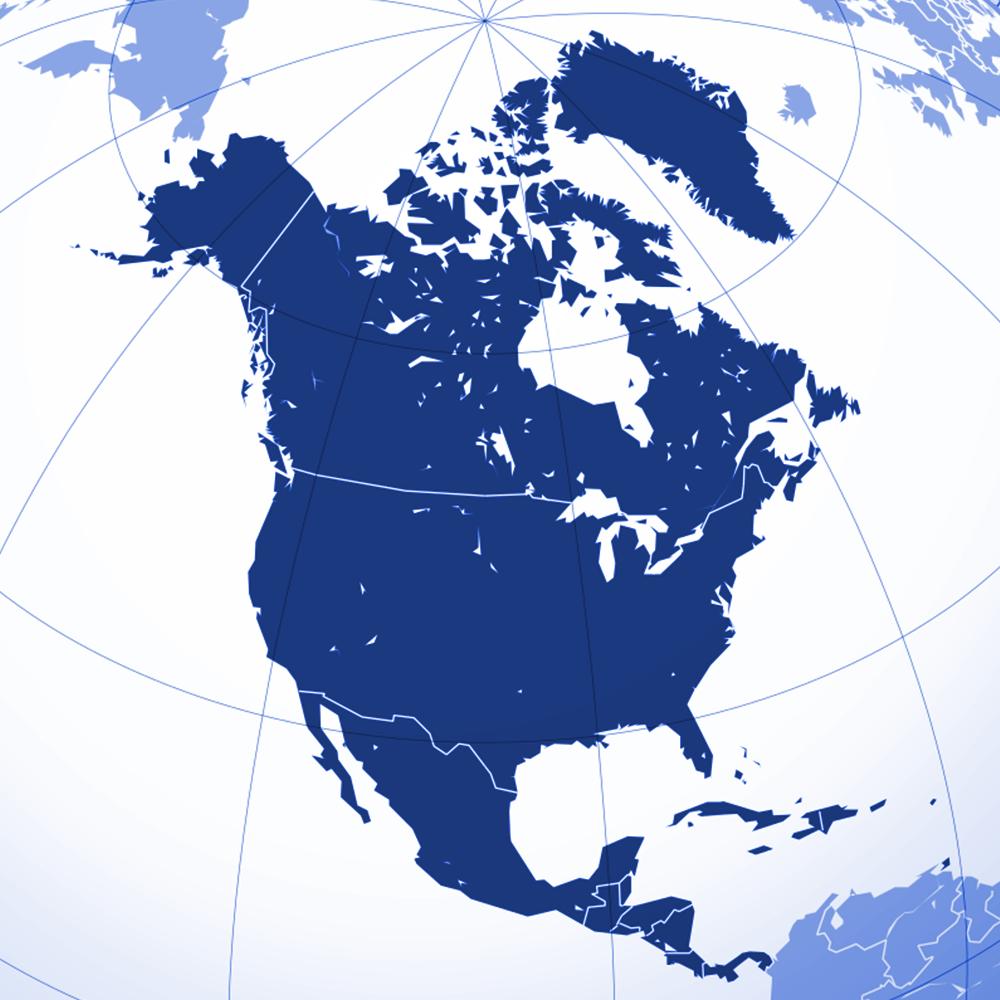 North America region | Blue | Atrax Group | Atrax reference locations - North America