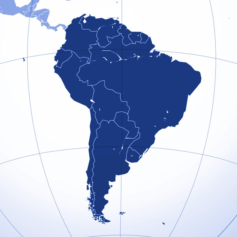 South America region | Blue | Atrax Group | Atrax reference locations - South America
